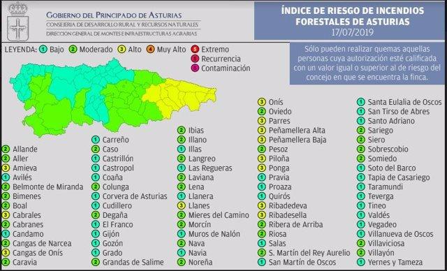 Mapa de riesgo de incendios forestales.