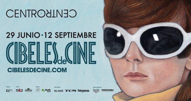 Cartel promocional de Cibeles de Cine, el cine de verano que se proyecta en la galería de cristal del centro cultural CentroCentro.