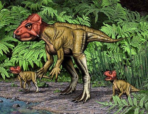 Recreación de auroraceratops, el dinosaurio bípedo con cuernos