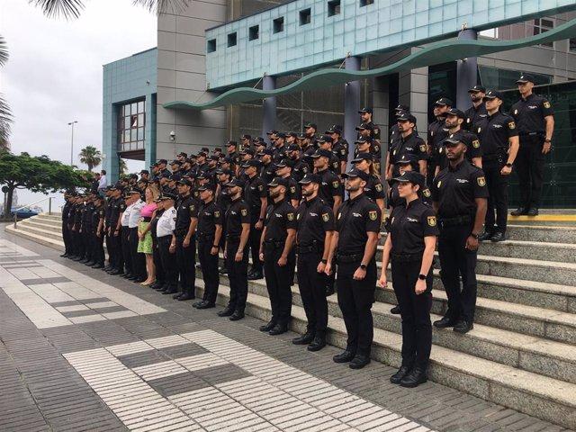 Nuevos agentes de la Policia Nacional que inician su periodo de prácticas en Canarias