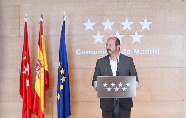 El presidente de la Comunidad de Madrid en funciones, Pedro Rollán, en rueda de prensa posterior al Consejo de Gobierno.