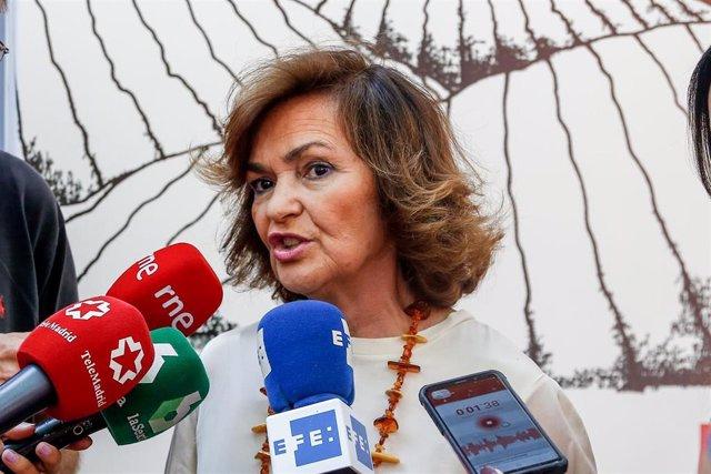 La secretaria de Igualdad de la Ejecutiva Federal y vicepresidenta del Gobierno en funciones, Carmen Calvo, interviene en la conferencia de las jornadas 'Diálogos 140 aniversario' por el aniversario del PSOE en el Centro Cultural Daoiz y Velarde de Madrid