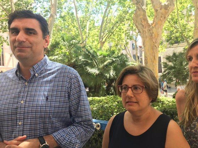 El regidor del Partido Popular (PP) en el Ayuntamiento de Palma, Julio Martínez, y la portavoz del PP en Palma, Mercedes Celeste, en declaraciones a los medios