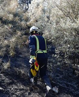 Imagen de un bombero de la Comunidad de Madrid trabajando en el incendio de Cadalso de los Vidrios.