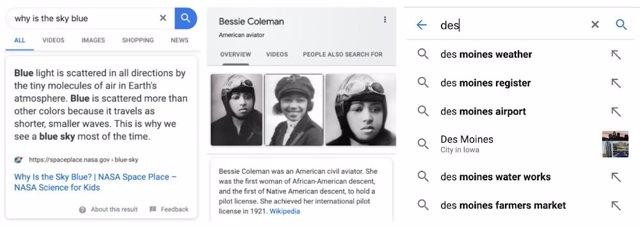 Ejemplo de las herramientas de búsqueda de Google fragmento destacado, panel informativo y autocompletar