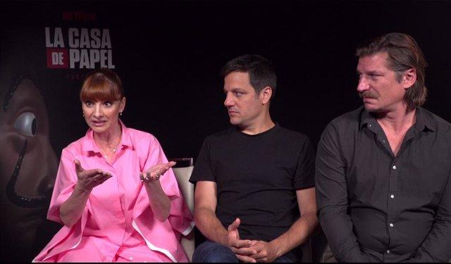 Najwa Nimri, Rodrigo de la Serna y Luka Peros, actores de La casa de papel