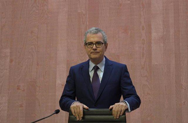 El presidente de Inditex, Pablo Isla, durante la Junta General de Accionistas de Inditex 2019 en la sede central de Arteixo (A Coruña).