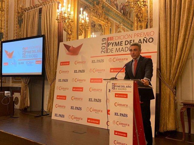 Intervención el viceconsejero de Economía y Competitividad en funciones, Javier Ruiz, durante el acto de entrega de los III Premios Pyme del año de Madrid.