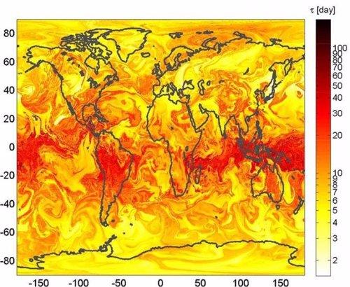 Distribución de partículas ern la atmósfera