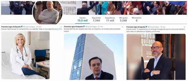 El futuro vicepresidente y portavoz de la Junta, Francisco Igea, felicita en su perfil de Twitter a los consejeros elegidos por Ciudadanos en Castilla y León.
