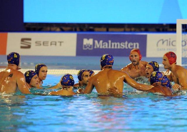 La selección española masculina de waterpolo durante los Europeos de Barcelona