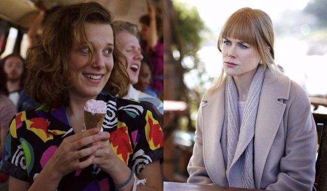 Imagen de Millie Bobby Brown en Stranger Things e imagen de Nicole Kidman en Big Little Lies