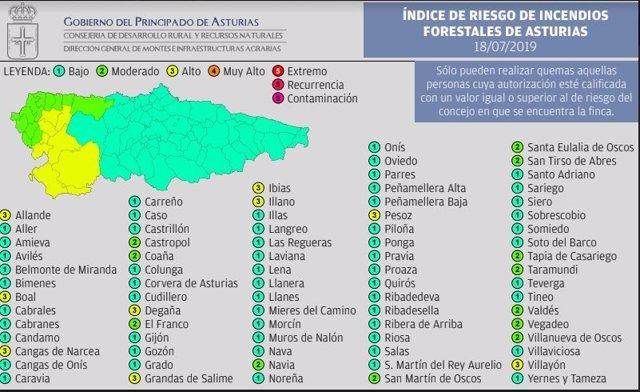 Mapa de índice de riesgos forestales.