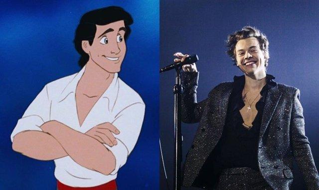 Imagen del príncipe Eric en La sirenita y foto de Harry Styles