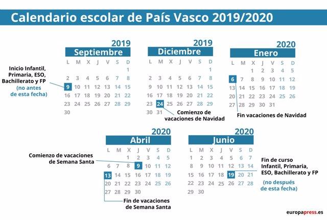 Calendario Diciembre 2020 Navideno.Calendario Escolar En Pais Vasco 2019 2020 Navidad Semana Santa Y Vacaciones De Verano