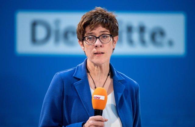 Annegret Kramp-Karrenbauer, presidenta de la CDU, en un acto de partido en Berlín