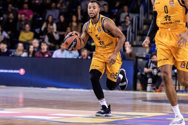 Clevin Hannah, #5 of of Herbalife Gran Canaria during the EuroLeague Basketball, match between FC Barcelona Lassa and Herbalife Gran Canaria at Palau Blaugrana, in Barcelona, Spain. March 19, 2019.