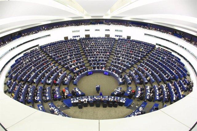 Interior del Pleno del Parlamento Europeo en Estrasburgo