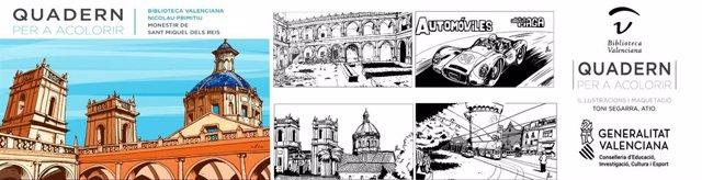 Biblioteca Valenciana publica un cuaderno de colorear sobre sus fondos y la historia de San Miguel de los Reyes