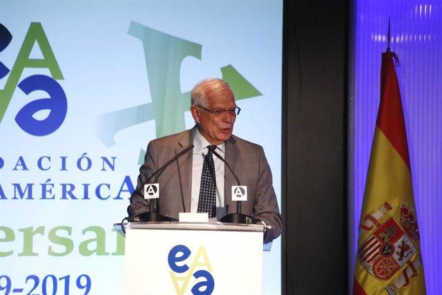 El ministros de Asuntos Exteriores, Unión Europea y Cooperación en funciones, Josep Borrell, interviene en el Acto del XX Aniversario de la Fundación Euroamérica en Casa América.