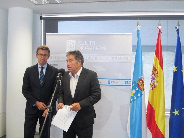 El presidente de la Xunta y el alcalde de Pontevedra durante la rueda de prensa de este miércoles