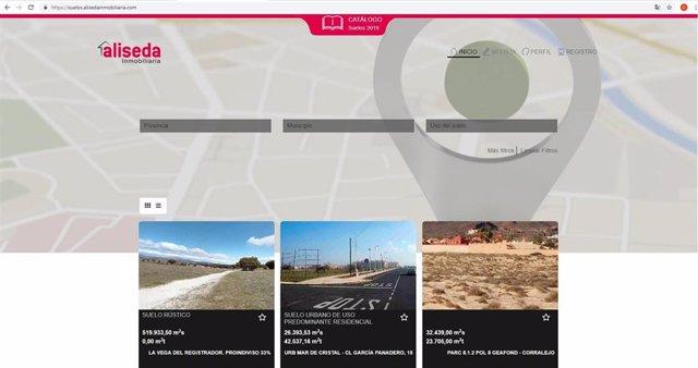 La web de suelos de Aliseda Inmobiliaria (www.Alisedasuelos.Com)