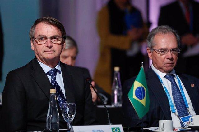 El presidente de Brasil, Jair Bolsonaro, durante la ceremonia de Mercosur.