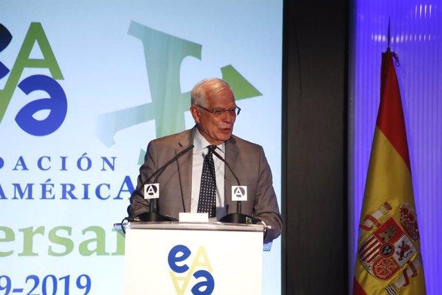 El ministros de Asuntos Exteriore y Unión Europea en funciones, Josep Borrell, interviene en el acto del XX Aniversario de la Fundación Euroamérica en Casa América.