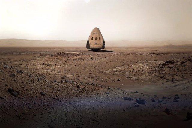 Recreación de una nave Dragon de Space X en Marte
