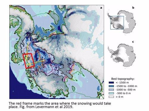 Zonas en rojo marcan el área donde tendría lugar la innivación artificial masiva