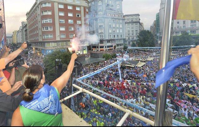 Lanzamiento del chupinazo de la Semana Grande de Santander en 2018