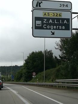 Desvío para Zalia y Cogersa