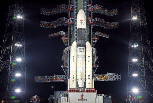 Cohete GSLVMkIII con la misión india a la Luna Chandrayaan 2