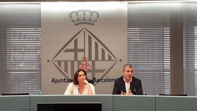 Ada Colau i Jaume Collboni en roda de premsa