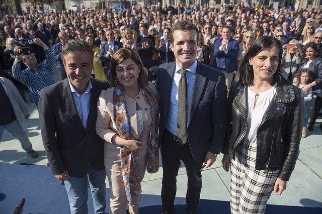 Diego Movellán, María José Sáenz de Buruaga, Pablo Casado y Gema Igual en un acto de la campaña electoral del 28A
