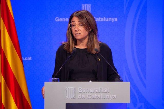 La portaveu del Govern de la Generalitat, Meritxell Budó, ofereix una roda de premsa després del consell executiu.