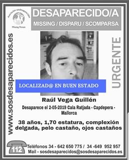 Cartel del hombre de 38 años desaparecido en Capdepera