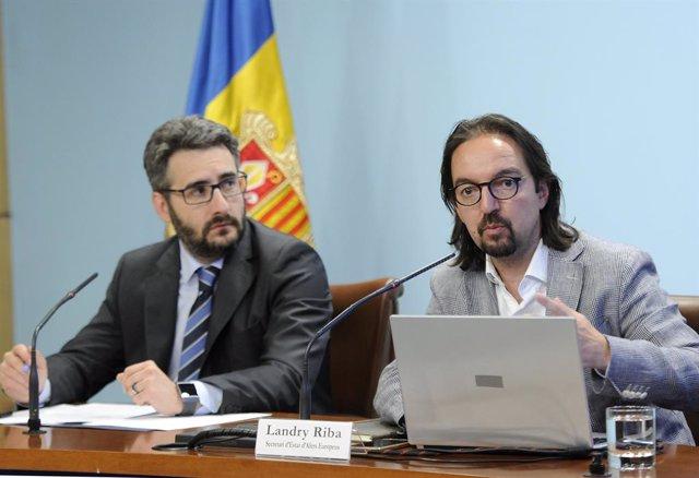 El ministre portaveu d'Andorra, ric Jover, i el secretari d'Estat d'Assumptes Europeus, Landry Riba.