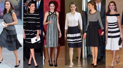 La Reina Letizia, sus vestidos en rayas en blanco y negro