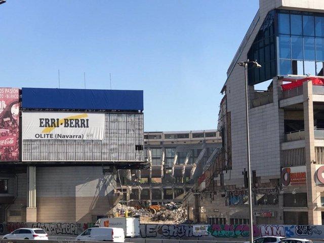 El estadio Vicente Calderón, actualmente en proceso de demolición.