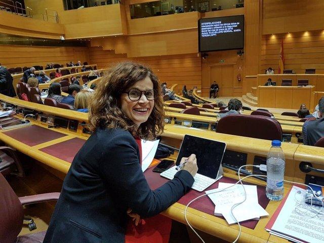 La senadora de Adelante por designación autonómica, Esperanza Gómez, en la Cámara Alta
