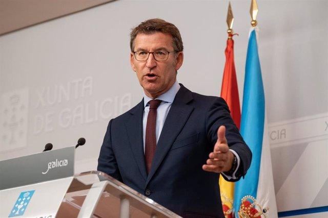 El presidente de la Xunta, Alberto Núñez Feijóo, en la rueda de prensa del Consello.