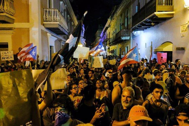 Protestas en San Juan contra el gobernador de Puerto Rico