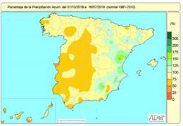 Mapa de lluvias en España