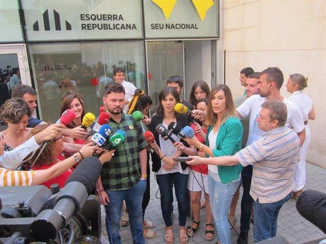 El portaveu d'ERC al Congrés,  Gabriel Rufián, i la portaveu del partit, Marta Vilalta