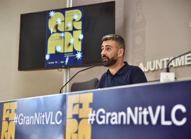 El concejal de Cultura Festiva del Ayuntamiento de València, Pere Fuset, presenta en rueda de prensa la Gran Nit de Juliol de la Gran Fira de Valencia 2019.