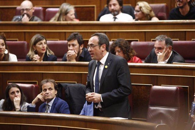 El diputat pres Josep Rull intervé durant la sessió constitutiva del Congrés dels Diputats