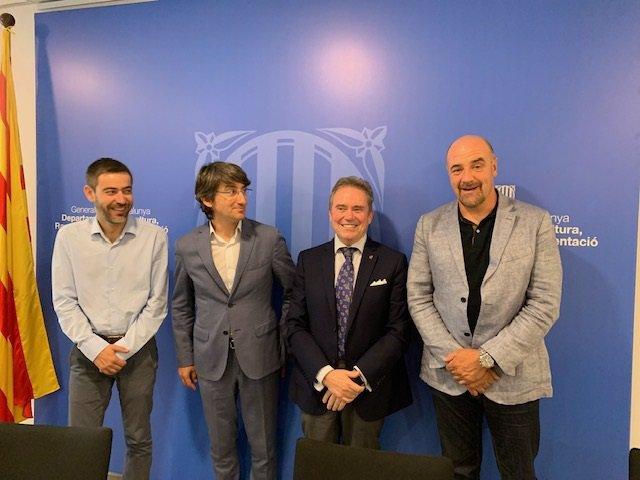 El director dels Serveis Territorials d'Agricultura a Lleida, Ferran de Noguera; el director general d'Afrucat, Manel Simón; el president del Comitè de fruita de llavor, Joan Serentill, i el president d'Afrucat Francesc Torres