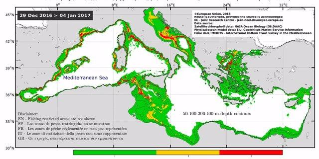 Monitoraje internacional sobre l'arrossegament de fons en la Mediterrnia realitzat per satllits del projecte Copernicus.