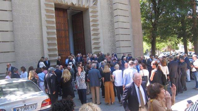 Representantes económicos, políticos y sociales despiden en Getxo (Bizkaia) al banquero Emilio Ybarra Churruca